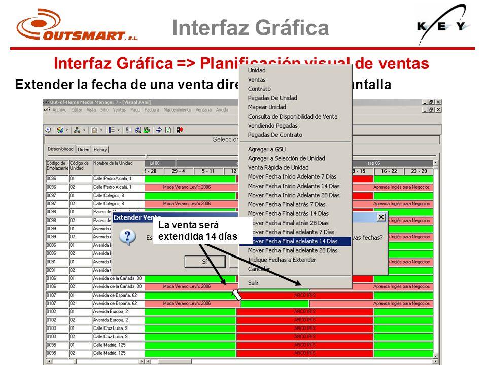 Interfaz Gráfica => Planificación visual de ventas Interfaz Gráfica Extender la fecha de una venta directamente en la pantalla La venta será extendida