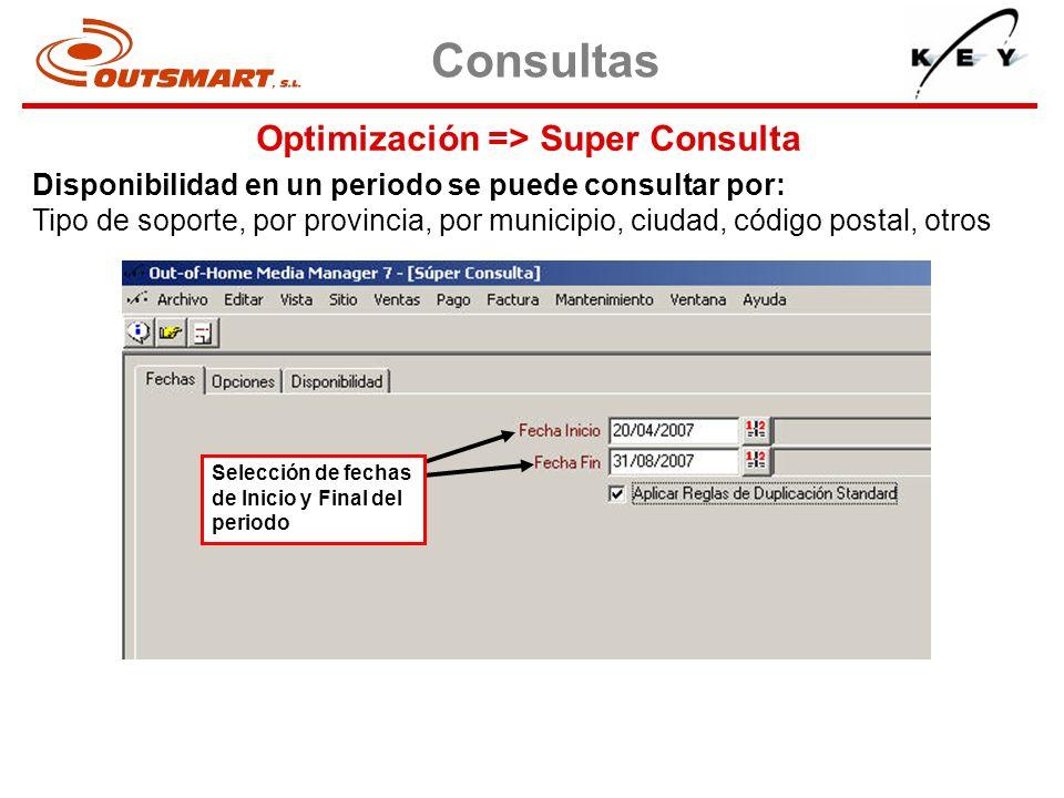 Optimización => Super Consulta Consultas Disponibilidad en un periodo se puede consultar por: Tipo de soporte, por provincia, por municipio, ciudad, c
