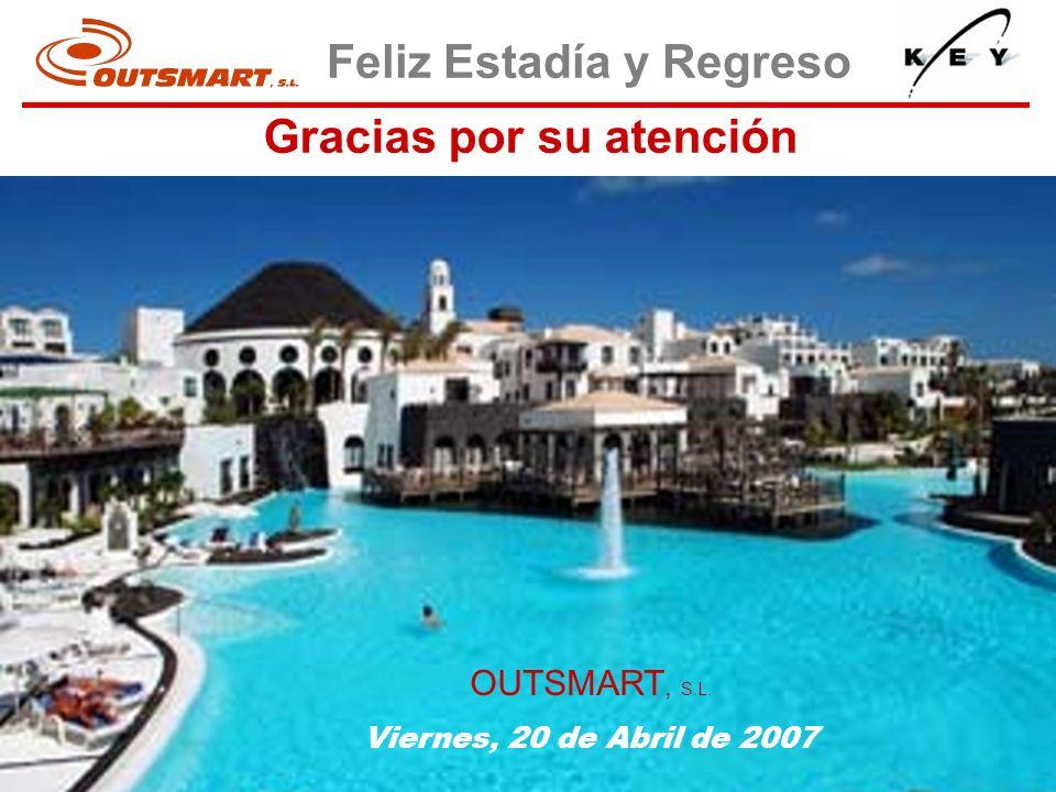 Feliz Estadía y Regreso Gracias por su atención OUTSMART, S.L. Viernes, 20 de Abril de 2007