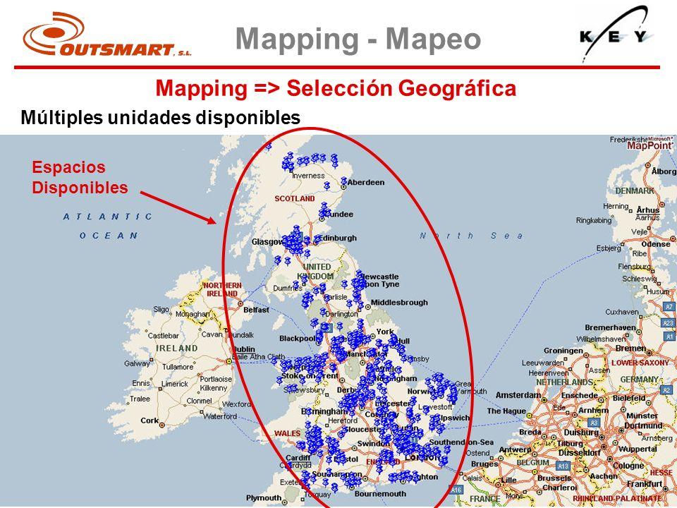 Mapping => Selección Geográfica Mapping - Mapeo Múltiples unidades disponibles Espacios Disponibles