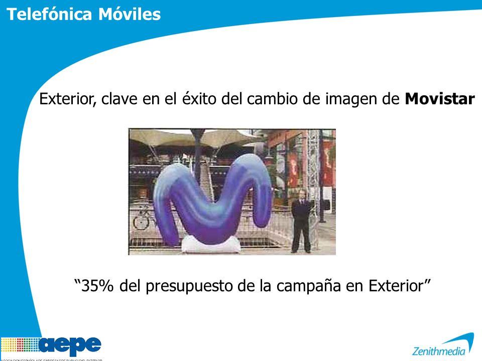 Telefónica Móviles Exterior, clave en el éxito del cambio de imagen de Movistar 35% del presupuesto de la campaña en Exterior