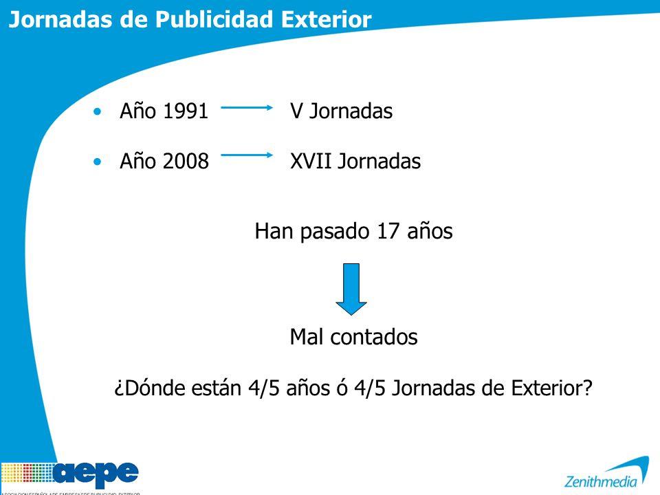 Jornadas de Publicidad Exterior Año 1991V Jornadas Año 2008XVII Jornadas Han pasado 17 años Mal contados ¿Dónde están 4/5 años ó 4/5 Jornadas de Exterior?