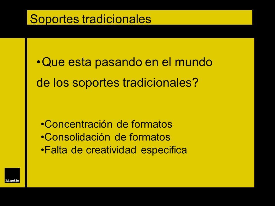 Soportes tradicionales Que esta pasando en el mundo de los soportes tradicionales? Concentración de formatos Consolidación de formatos Falta de creati
