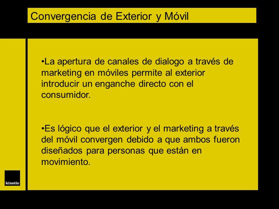 Convergencia de Exterior y Móvil La apertura de canales de dialogo a través de marketing en móviles permite al exterior introducir un enganche directo