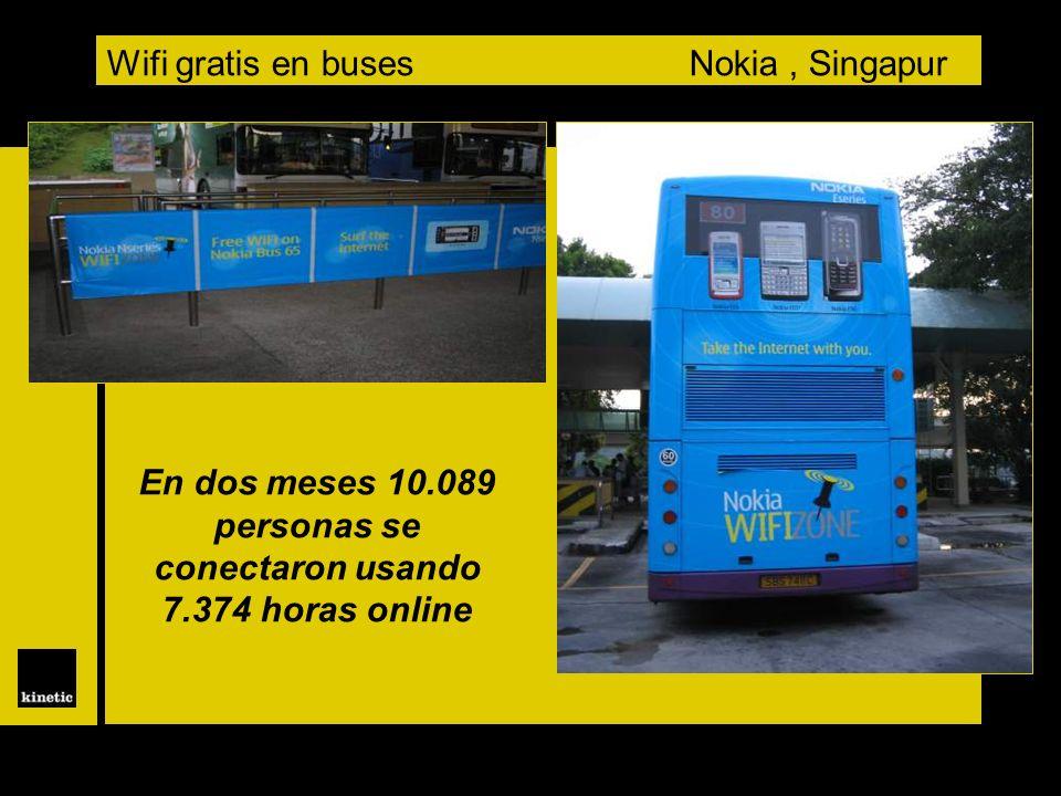 Wifi gratis en buses Nokia, Singapur En dos meses 10.089 personas se conectaron usando 7.374 horas online