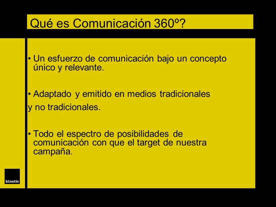 Qué es Comunicación 360º? Un esfuerzo de comunicación bajo un concepto único y relevante. Adaptado y emitido en medios tradicionales y no tradicionale