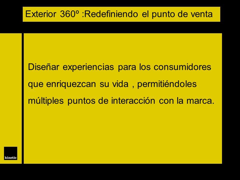 Diseñar experiencias para los consumidores que enriquezcan su vida, permitiéndoles múltiples puntos de interacción con la marca. Exterior 360º :Redefi