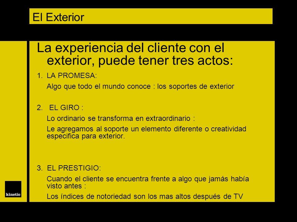El Exterior La experiencia del cliente con el exterior, puede tener tres actos: 1.LA PROMESA: Algo que todo el mundo conoce : los soportes de exterior