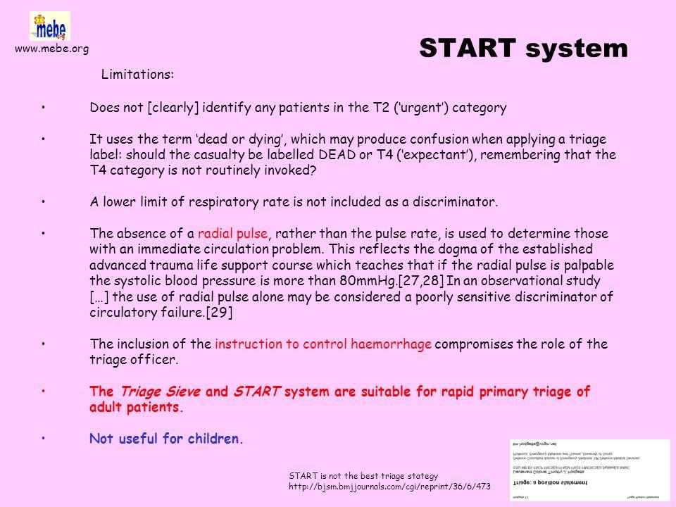www.mebe.org START system Basado en el Triage Sort Estratificado de acuerdo con el Trauma Score (1981) y el Revised Trauma Score RTS (1989), con S 0.4