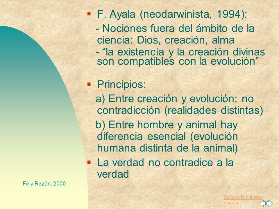 Saltar a la primera página Fe y Razón, 2000 4. Creación y evolución Darwin; Mendel y genética Neodarwinismo, Biología Molecular y fósiles recientes Di