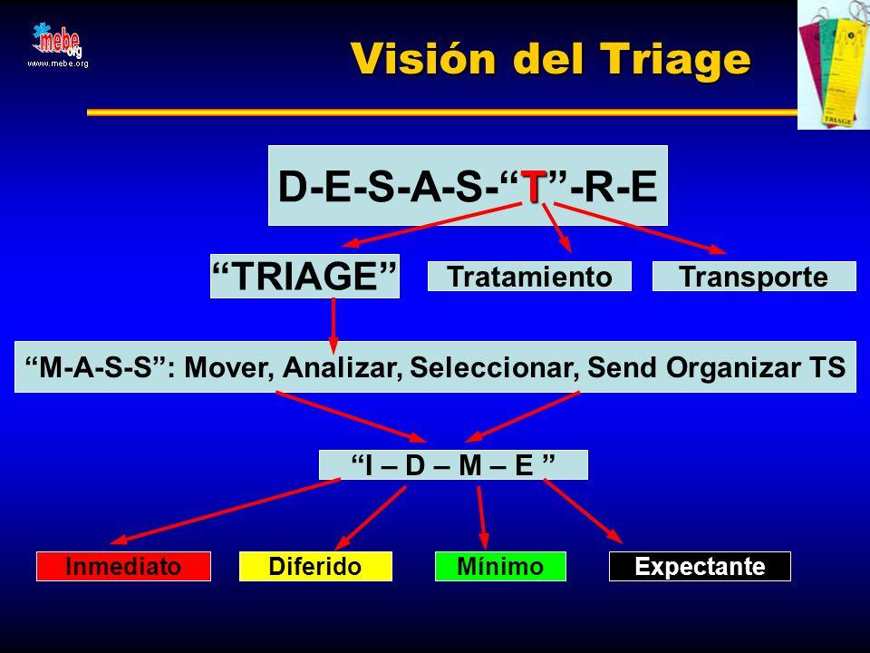 Visión del Triage T D-E-S-A-S-T-R-E Tratamiento TRIAGE M-A-S-S: Mover, Analizar, Seleccionar, Send Organizar TS I – D – M – E InmediatoDiferidoMínimoE