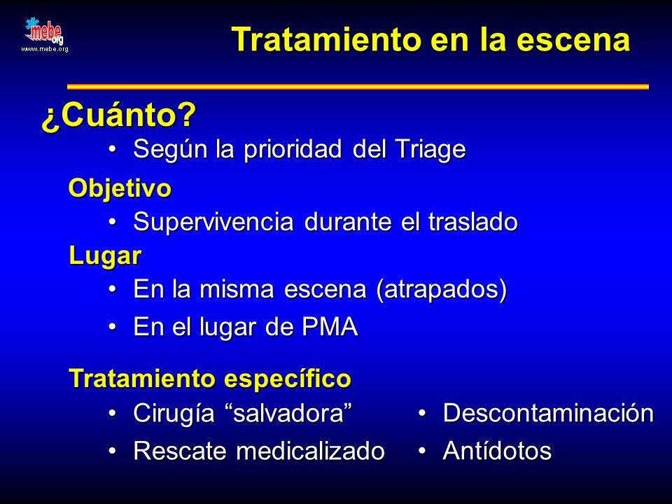Tratamiento en la escena ¿Cuánto? Según la prioridad del TriageSegún la prioridad del Triage Objetivo Supervivencia durante el trasladoSupervivencia d