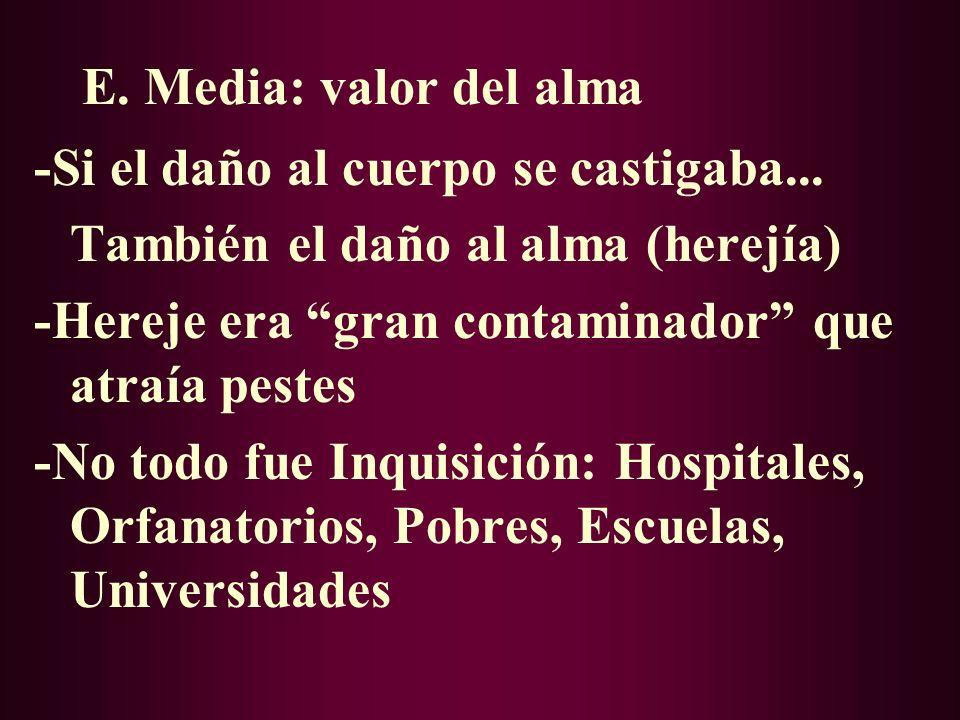 VII. BALANCE FINAL -Inquisición Papal Española -Habitual en E. Media: Ladrón: Tortura Asesino: Muerte Traición: Descuartizado -La Iglesia no inventó e