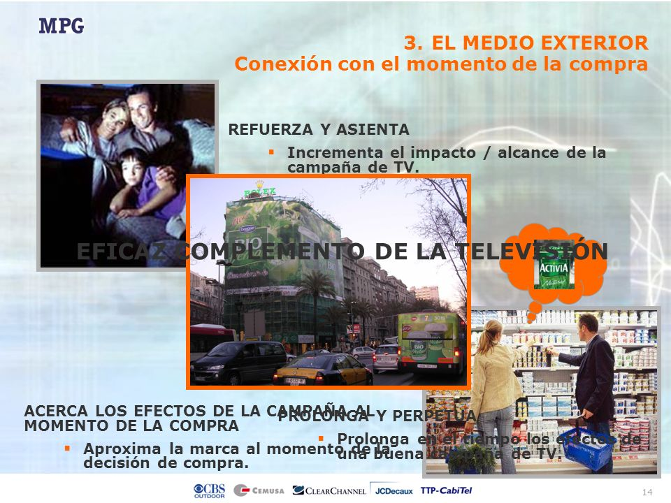 14 REFUERZA Y ASIENTA Incrementa el impacto / alcance de la campaña de TV. Estimula su recuerdo PROLONGA Y PERPETUA Prolonga en el tiempo los efectos