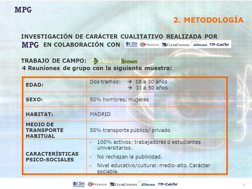 6 4 Reuniones de grupo con la siguiente muestra: EDAD: Dos tramos: 18 a 30 años 31 a 50 años SEXO:50% hombres/ mujeres HABITAT:MADRID MEDIO DE TRANSPO