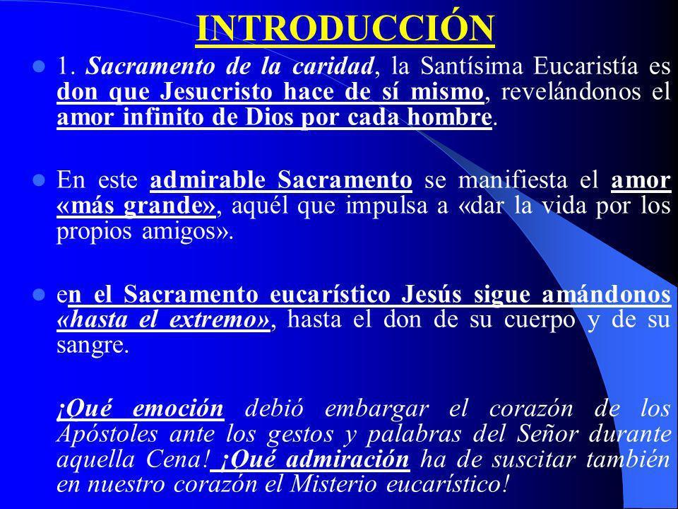 EXH. Ap. Post-Synodal SACRAMENTUM CARITATIS INTRODUCCIÓN Máximo amor de Dios / Historia de reformas lit. I. MISTERIO QUE SE HA DE CREER Creer más / Re