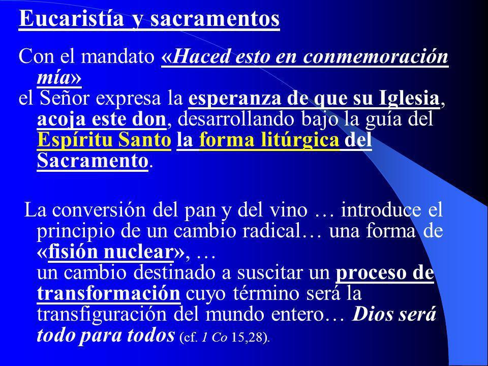 Con el mandato «Haced esto en conmemoración mía» el Señor expresa la esperanza de que su Iglesia, acoja este don, desarrollando bajo la guía del Espír
