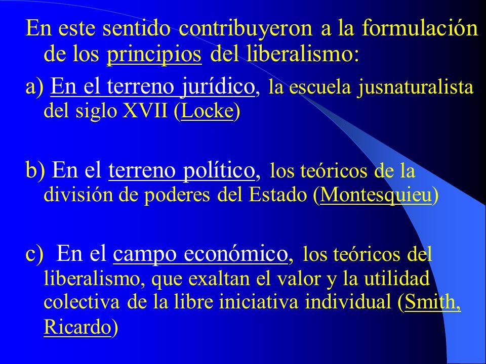 En este sentido contribuyeron a la formulación de los principios del liberalismo: a) En el terreno jurídico, la escuela jusnaturalista del siglo XVII