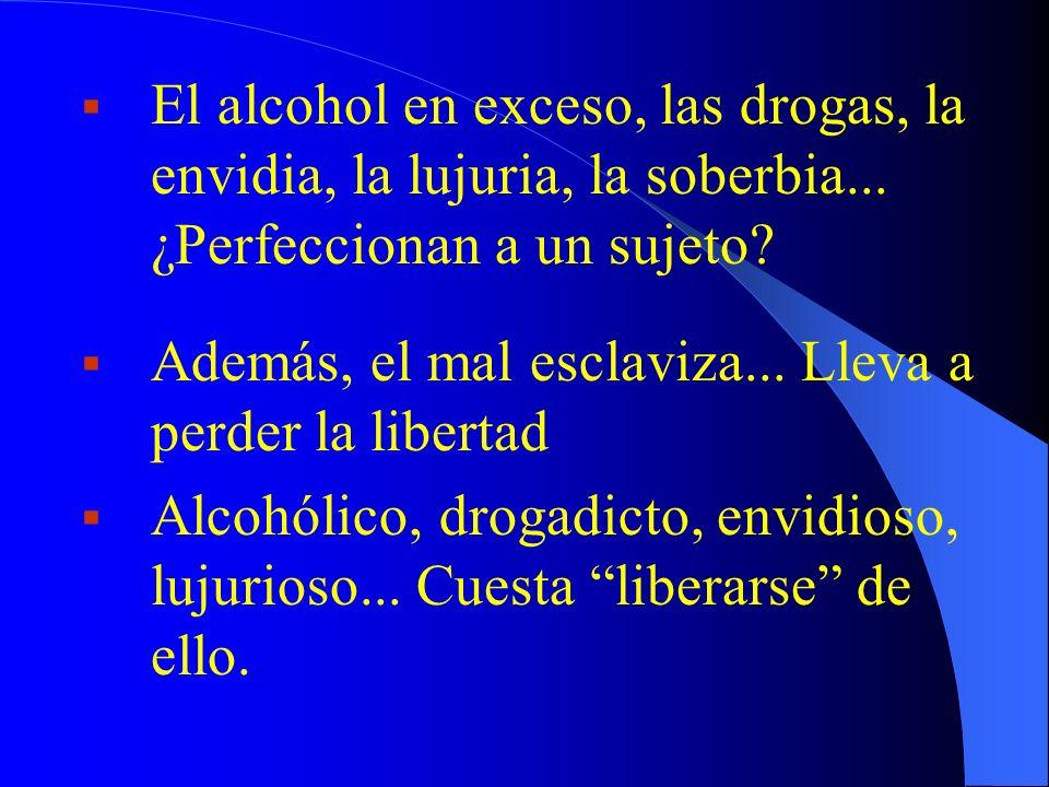 El alcohol en exceso, las drogas, la envidia, la lujuria, la soberbia... ¿Perfeccionan a un sujeto? Además, el mal esclaviza... Lleva a perder la libe