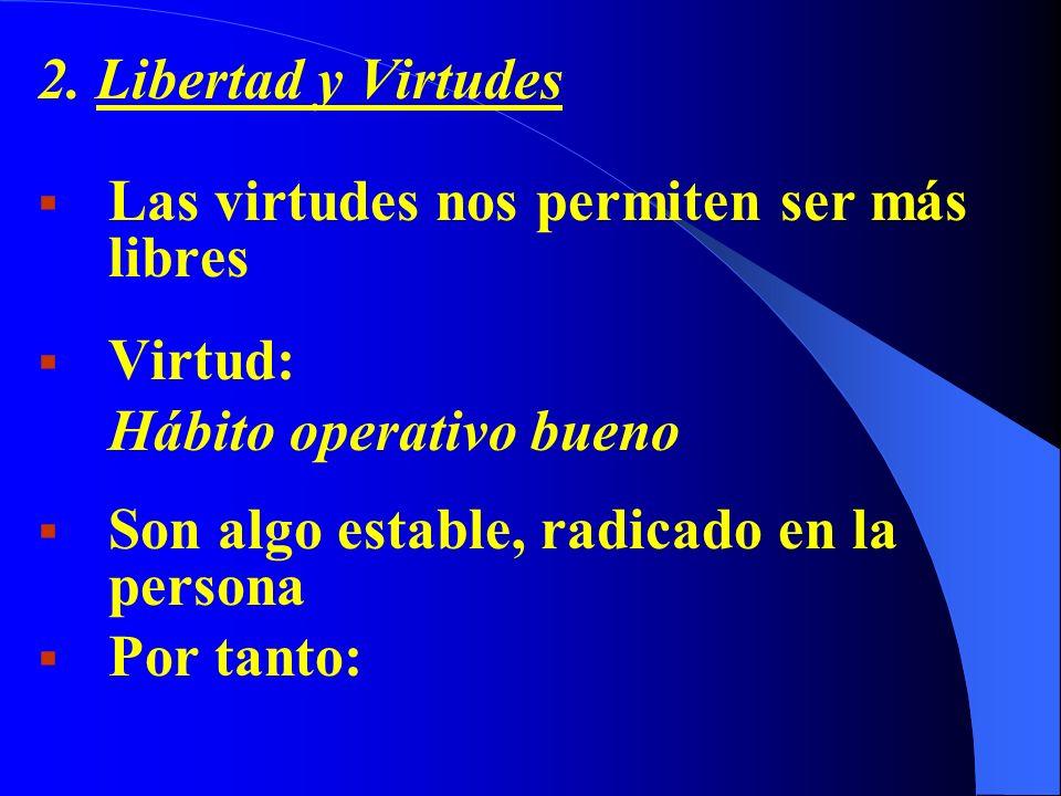 2. Libertad y Virtudes Las virtudes nos permiten ser más libres Virtud: Hábito operativo bueno Son algo estable, radicado en la persona Por tanto: