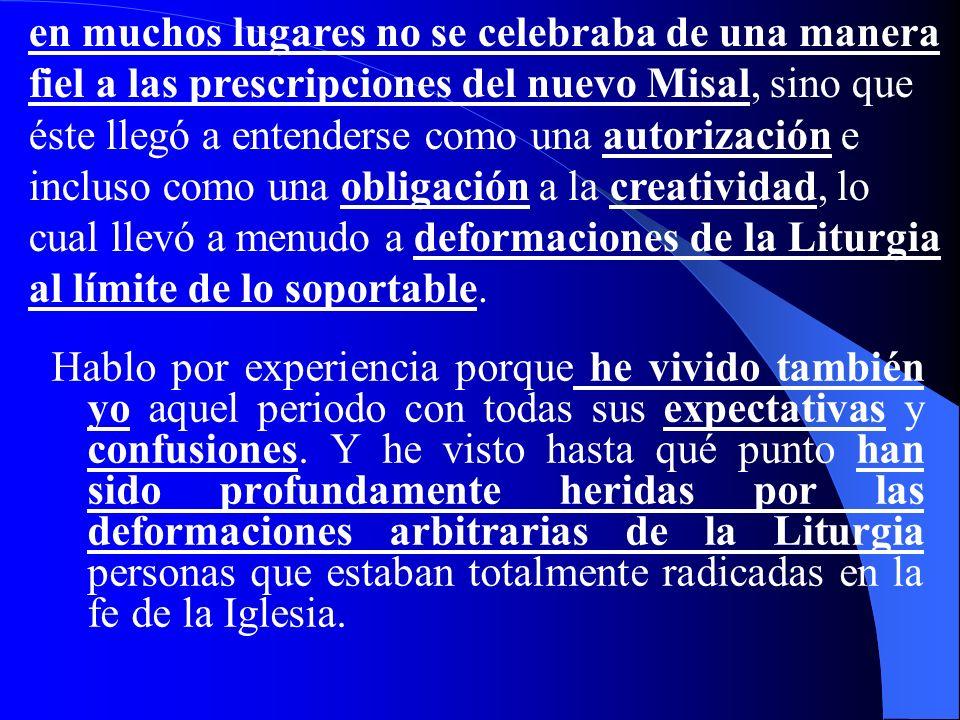Esto sucedió, sobre todo, en los Países en los que el movimiento litúrgico había dado a muchas personas una notable formación litúrgica y una profunda