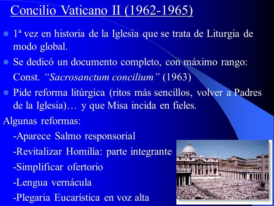 -El Concilio de Trento (S. XVI) preparó una liturgia unificadora, el Missale Romanum (Misal Romano, publicado hasta 1570), y ordenó su empleo a todas