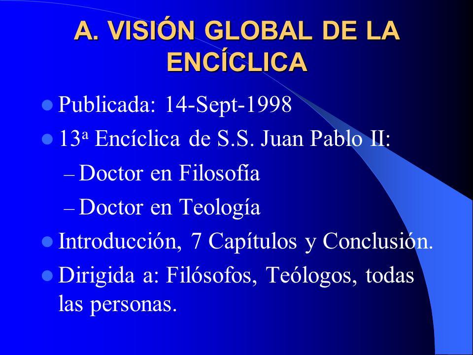 CONTENIDO GENERAL A. Visión global de la Enc. Fides et Ratio B. ¿Es la Fe conocimiento? C. Etapas históricas del acceso a la verdad D. Retos de la Fid