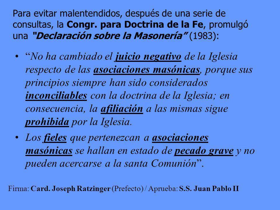 Can. 1374: Quien se inscribe en una asociación que maquina contra la Iglesia debe ser castigado con una pena justa; quien promueve o dirige esa asocia