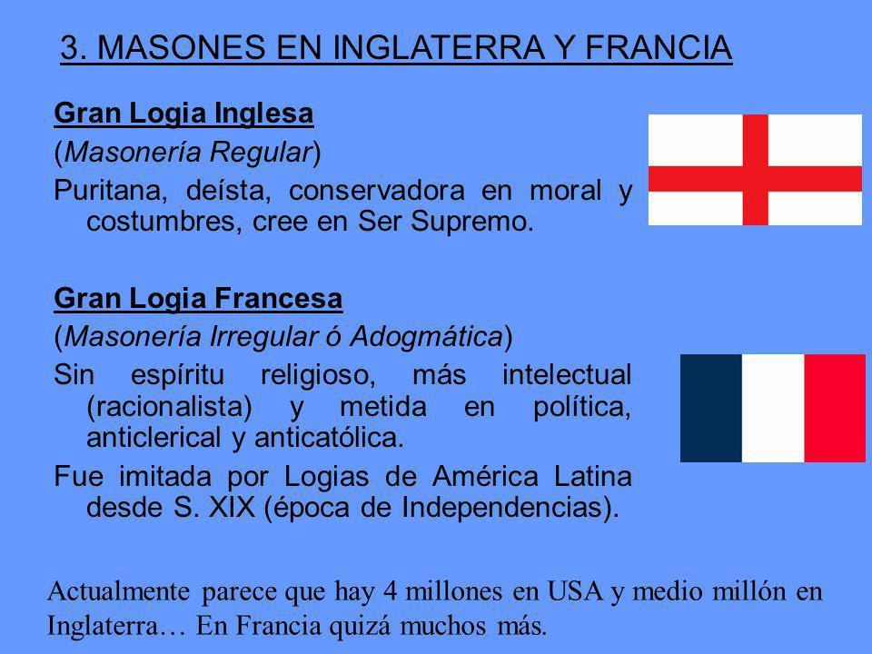 1738: La Gran Logia de Francia (que sigue el Rito escocés antiguo y aceptado) se separa de la de Inglaterra. 1804: El Gran Maestre José Bonaparte (ayu