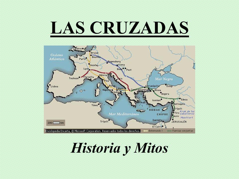 Los cruzados (Mapa en verde) conquistan Jerusalén y buena parte de Palestina: fue la única Cruzada con una enorme victoria militar, pues las distintas facciones musulmanas alrededor del Mediterráneo se encontraban divididas.