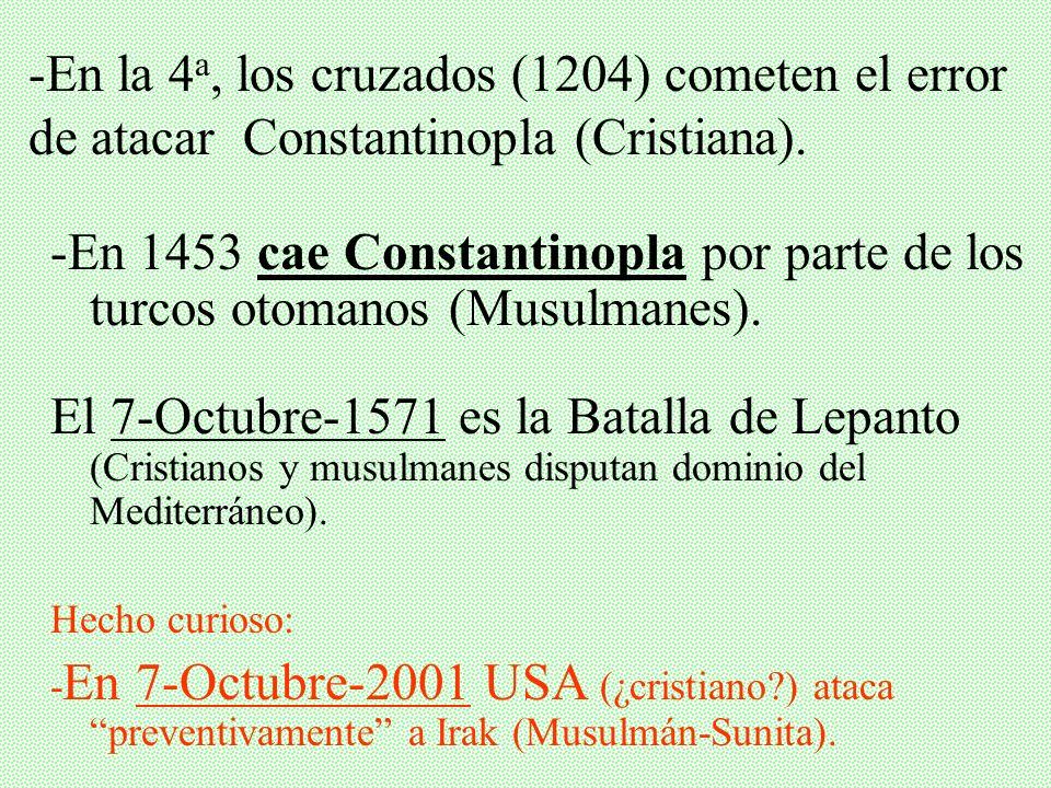 I. LAS 8 CRUZADAS Aunque de hecho existieron 8 Cruzadas hacia Tierra Santa, básicamente, las más importantes son las 4 primeras......pues a partir de