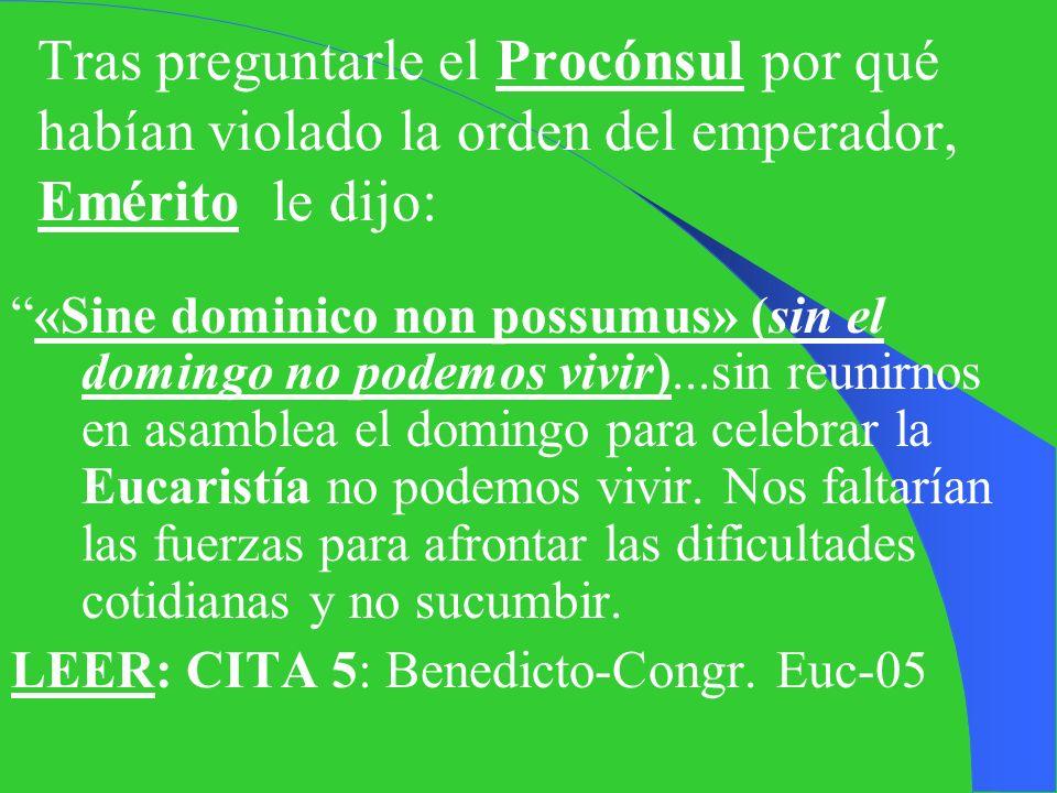 VII. SIN EL DOMINGO NO PODEMOS VIVIR Año 304 d.C Prohibición imperial de Diocleciano: prohibió a los cristianos, so pena de muerte, poseer las Escritu