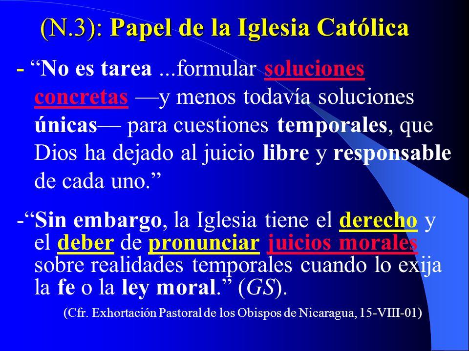 N.3 -El pluralismo relativista es falso - Para un católico, el pluralismo es elegir la opinión política -compatible con la ley moral natural y la fe-