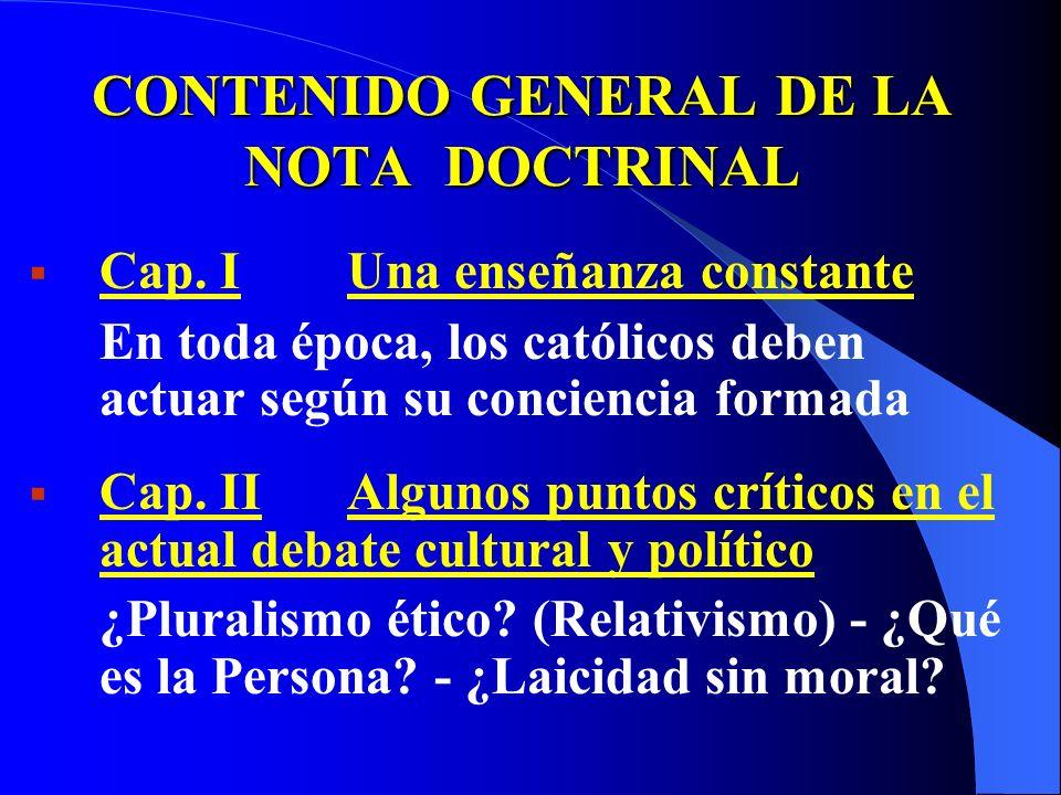 CONTENIDO GENERAL DE LA NOTA DOCTRINAL Cap.