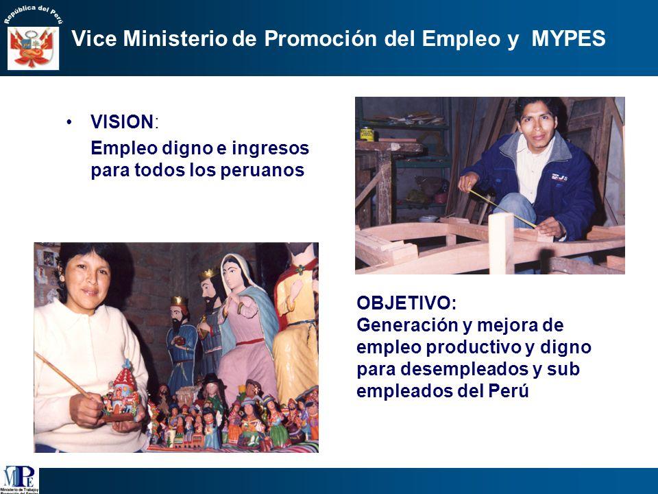 1.Articular los programas del MTPE para la promoción del empleo productivo. 2.Promover la competitividad de las MYPES, así como su formalización. 3.Au