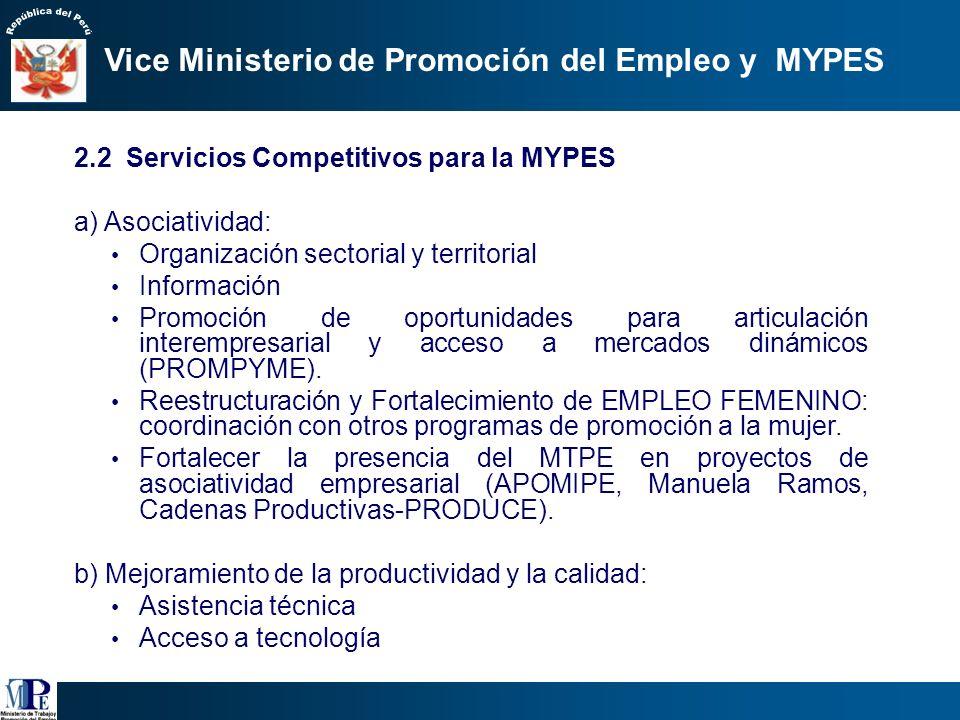 2.1 Formalización de la MYPE a través del Programa MI EMPRESA Formalización: Identidad ciudadanía empresarial: Tributaria: RUC, RUS Jurídica: Personer