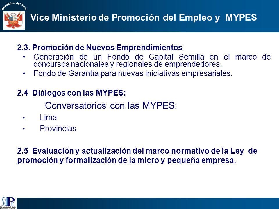 2.2 …/// Servicios Competitivos para las MYPES c) Articulación a mercados dinámicos: Bases de datos de mercados: MINCETUR, Información, Pro- expansión