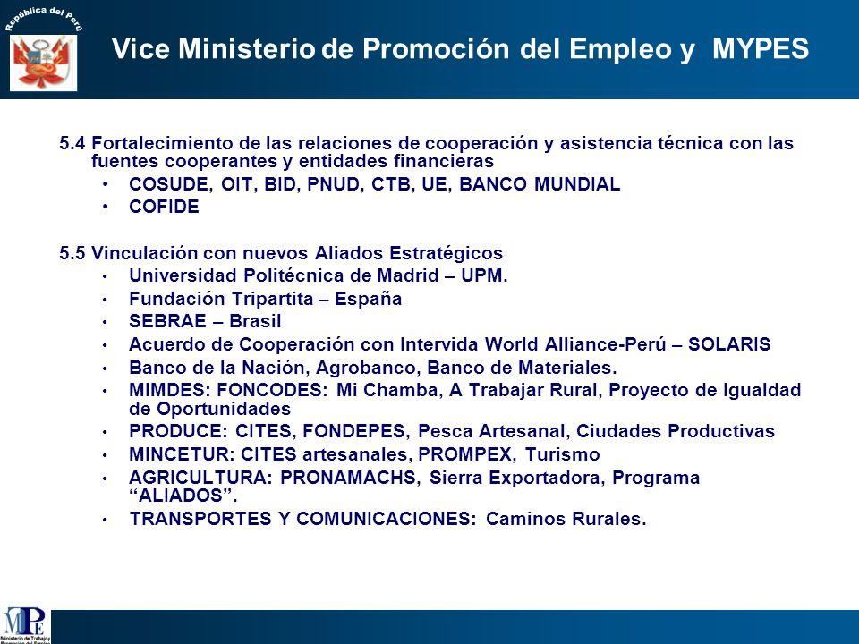 5. Consolidar el rol rector del MTPE en las políticas de empleo y fomento de la MYPE asegurando su coordinación y eficiencia 5.1 Supervisar la impleme
