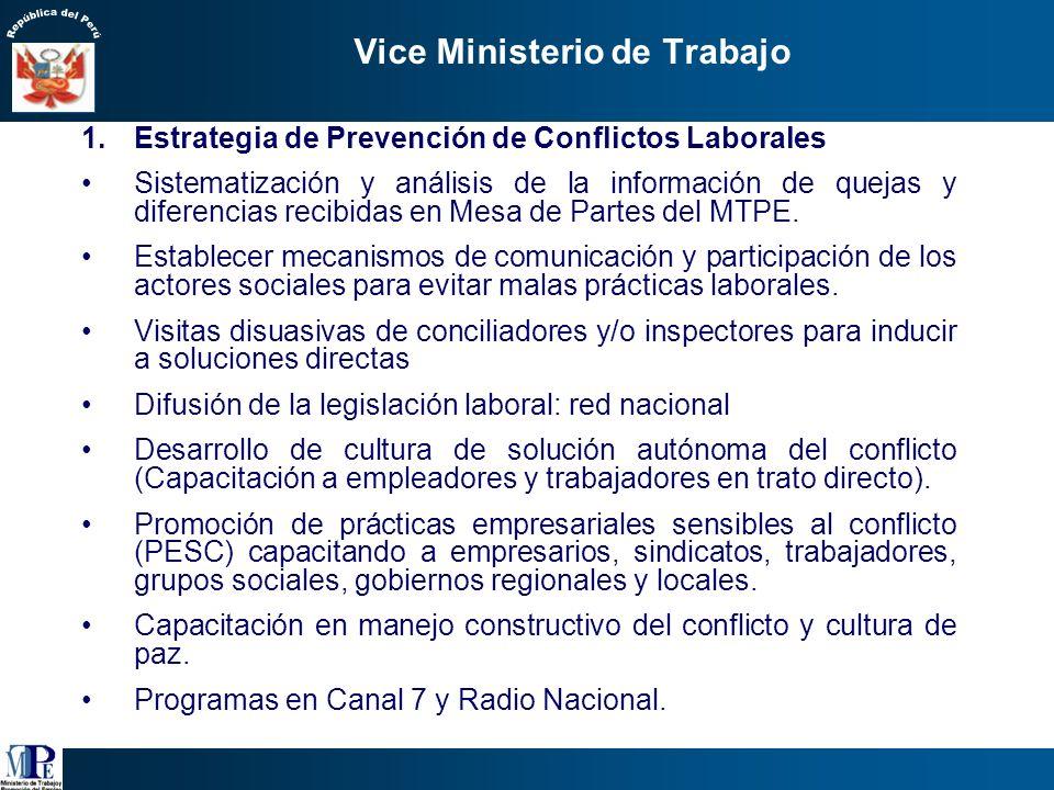 Vice Ministerio de Trabajo Visión: inversión productiva y empleo digno para los peruanos (14º política de estado, Acuerdo Nacional) Objetivo: Fomentar