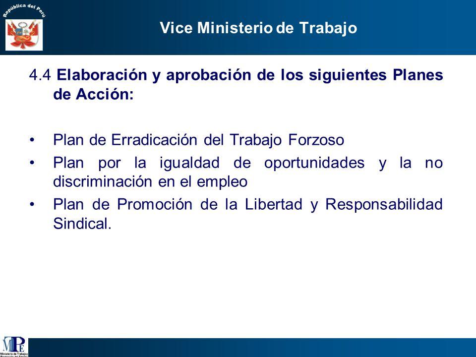 Vice Ministerio de Trabajo 4.2 Propuestas normativas de corto plazo: Ley de Agencias de Empleo Medidas para el incentivo tributario de los programas d