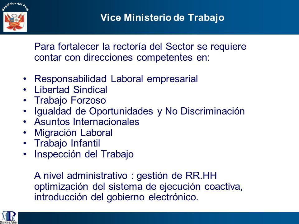 5. Estrategia de Reforma Institucional del Sector Trabajo Consolidar la rectoría a nivel nacional en: formulación de políticas, regulación y supervisi
