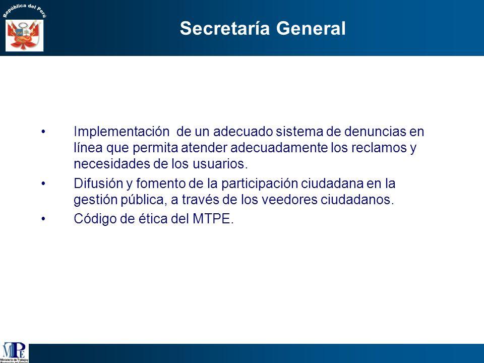 Secretaría General 2. Ética y Transparencia Conducta moral y responsable de todos los trabajadores del Ministerio empezando por la Alta Dirección: pre