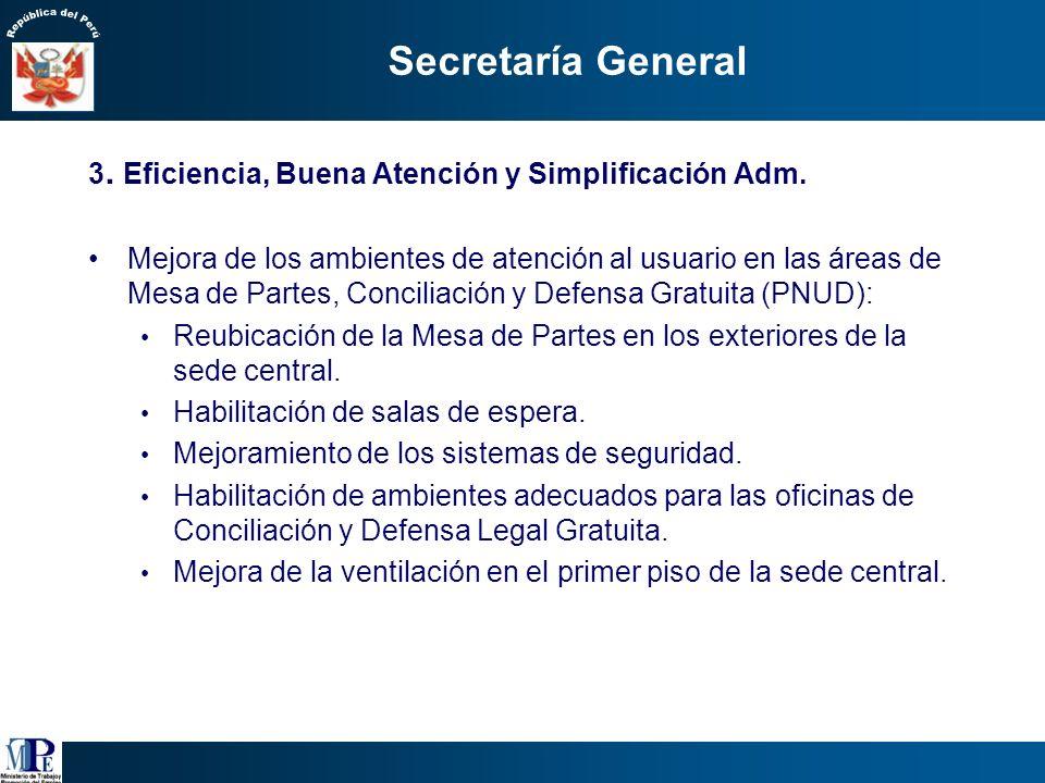 Secretaría General Implementación de un adecuado sistema de denuncias en línea que permita atender adecuadamente los reclamos y necesidades de los usu