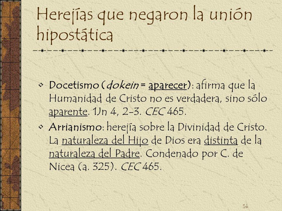 14 Herejías que negaron la unión hipostática Docetismo (dokein = aparecer): afirma que la Humanidad de Cristo no es verdadera, sino sólo aparente. 1Jn