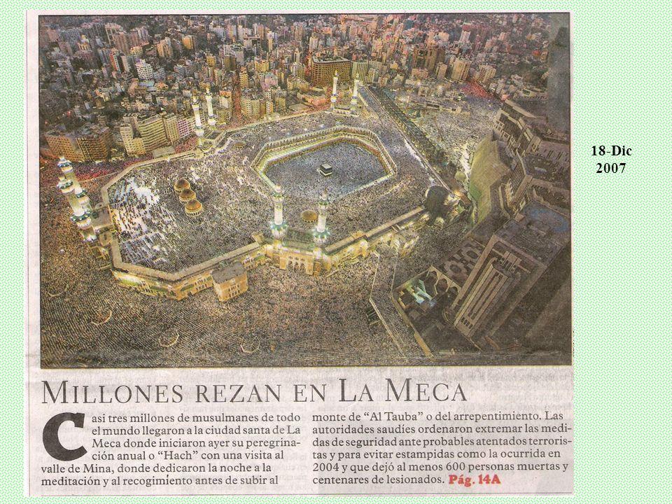 5. Peregrinar al menos 1 vez en la vida a la Meca (recuerda la última vez que el Profeta visitó la ciudad en Junio de 632). Allí está la Caaba o piedr