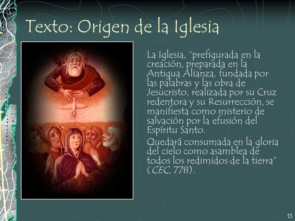 13 Texto: Origen de la Iglesia La Iglesia, prefigurada en la creación, preparada en la Antigua Alianza, fundada por las palabras y las obra de Jesucri