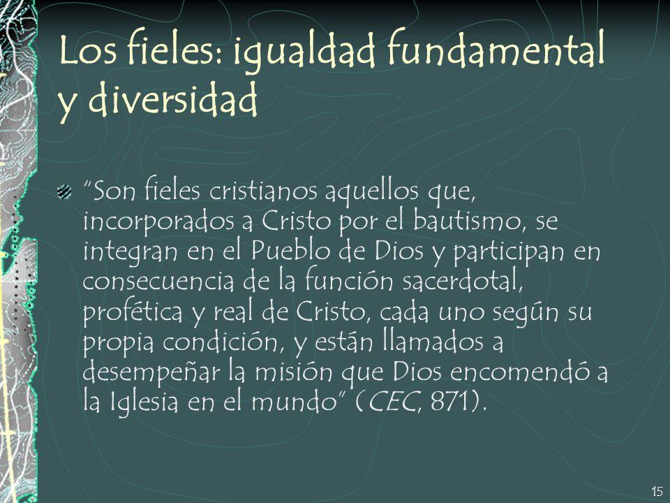 15 Los fieles: igualdad fundamental y diversidad Son fieles cristianos aquellos que, incorporados a Cristo por el bautismo, se integran en el Pueblo d