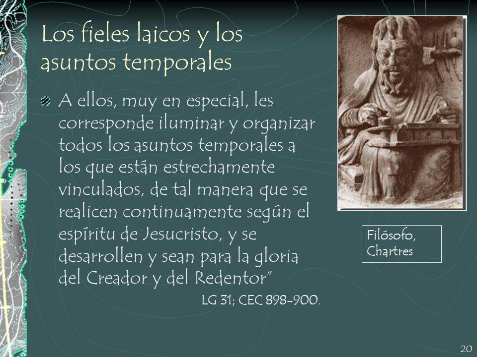20 Los fieles laicos y los asuntos temporales A ellos, muy en especial, les corresponde iluminar y organizar todos los asuntos temporales a los que es