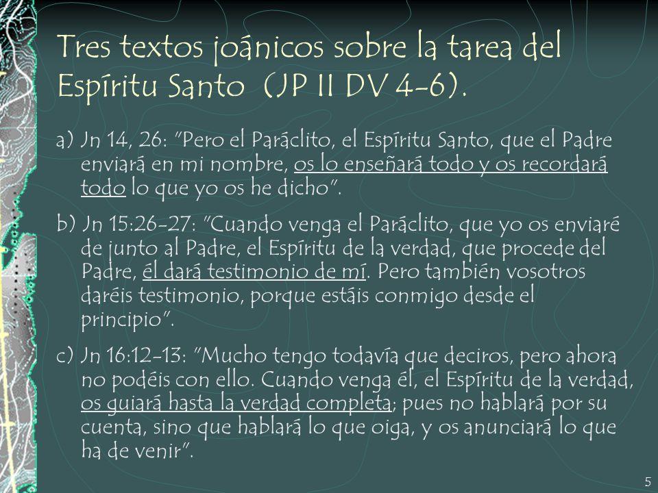 5 Tres textos joánicos sobre la tarea del Espíritu Santo (JP II DV 4-6). a) Jn 14, 26: