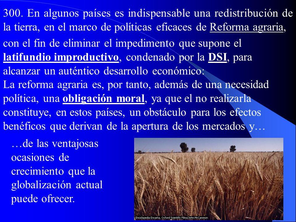 g) El mundo agrícola y el derecho al trabajo 299…En muchas casos son necesarios cambios radicales y urgentes para volver a dar a la agricultura –y a l